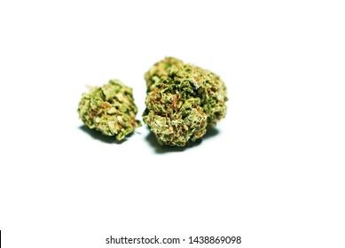 Marijuana, Dried Cannabis Buds on White Background