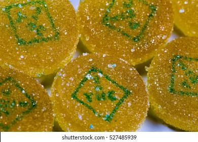 Marijuana edible pieces close close up