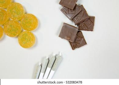 Marijuana edibles and joints overhead
