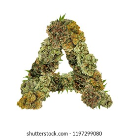 Marijuana font. Isolated weed font. Letter A symbol made from cannabis buds. Custom made, hand made ganja typography.  Letters designed from marijuana parts.