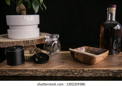 Marijuana Joint, Buds and Grinder on Wood Background Luxury Cannabis