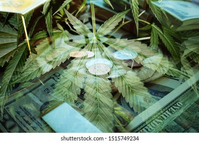 Marijuana Leaf With American Money Representing The Lucrative Cannabis Industry