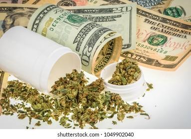 Marijuana and money isolated with copyspace