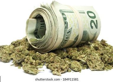 Marijuana and Money on white