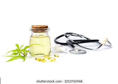 Marijuana oil bottle isolated on white background