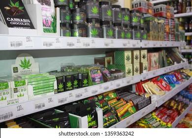 Marijuana on sale minimarket Prague City Czech Republic 20.09.2018