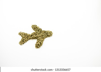 Marijuana in the Shape of Airplane, Travel with Cannabis, Angled