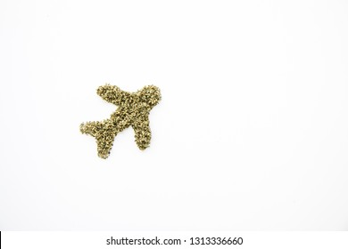Marijuana in the Shape of Airplane, Travel with Cannabis, Left Aligned