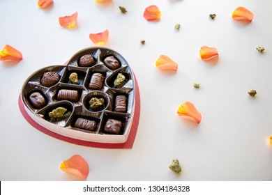 Marijuana Valentine's Day Chocolate Box with Cannabis
