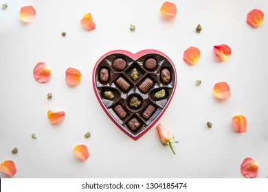 Marijuana Valentine's Day Chocolate Box with Rose and Cannabis