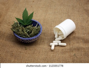 Marijuana versus synthetic white pills treatment concept.