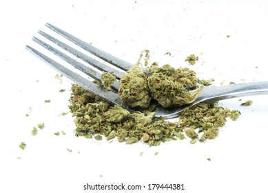 Marijuana. White Background Detail.