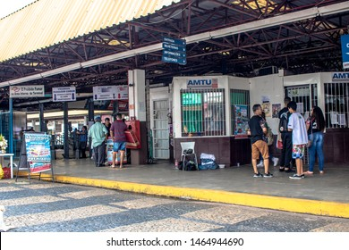 Marilia, Sao Paulo, Brazil, March 16. 2019. Passenger movement at the Urban Bus Terminal, in downtown Marilia, midwest region of the state of Sao Paulo