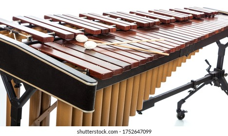 A Marimba with mallets on white