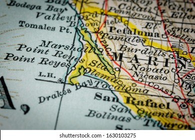 Marin County - Northern California. Narrow selective focus from map fragment originally dated 1897.