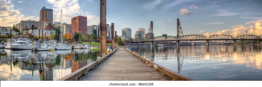 Marina along Willamette River in Portland Oregon Downtown Waterfront Panorama