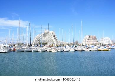 Marina and architecture of la Grande motte, a seaside resort in herault department, Occitanie region