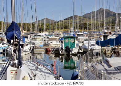Marina of Argeles-sur-Mer in France, commune on the cote vermeille in the Pyrenees-Orientales department, Languedoc-Roussillon region, in southern France.