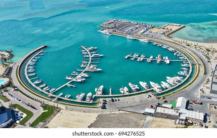 The marina at Bahrain's Amwaj Islands pictured in this Ariel shot