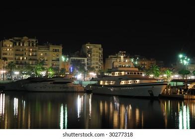 Marina in Barcelona at night