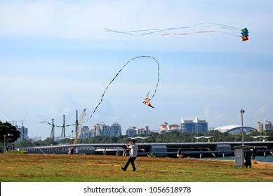 Marina Barrage,Singapore-September 3,2017 : People activity playing Kite at marina barrage parks ,singapore