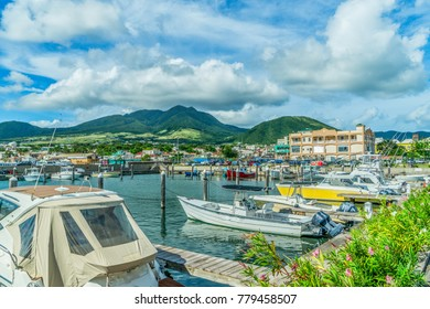 Marina in Bassetower in St Kitts, Eastern Caribbean