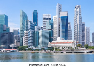 Marina Bay and Financial district with skyscrapers office business building, Singapore