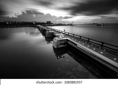Marina bay freshwater reservoir in long exposure