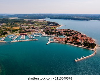 Marina bay in Novigrad in Istria, aerial drone bird eye view with boats  Aerial View of Yacht Club and Marina in Croatia