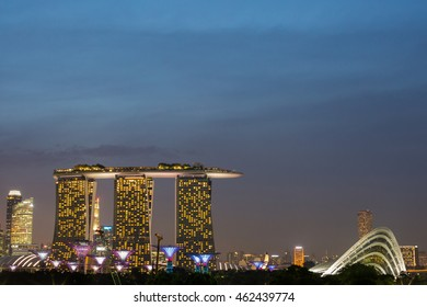 Marina Bay Sands is famous destination in Singapore. Designed by architect Moshe Safdie. Taken at night on June 03, 2016.