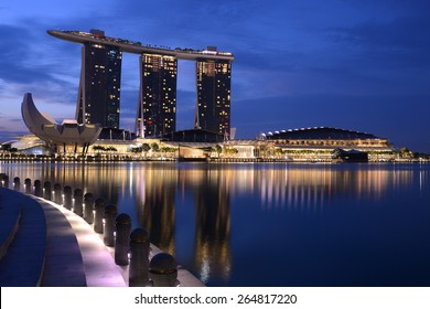 Marina Bay Sands Hotel and reflection on water, Singapore City March 15, 2015