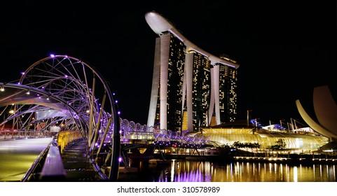 Marina Bay Sands night scene, April 24, 2013 in singapore.