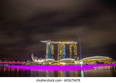 Marina Bay Sands Singapore at night with light show - Singapore 31, 2015
