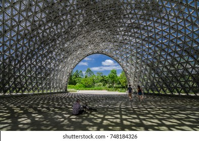 Marina Bay, Singapore. 16 July 2017: Pavilion for The Future Of Us Exhibition, a light-filtering roof with about 11000 triangular aluminium panels. The roof now remains as a sculpture in the park.