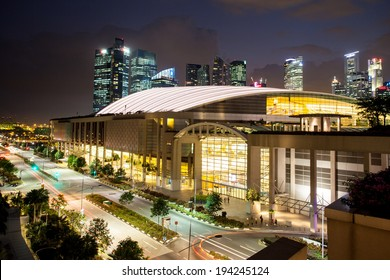 Marina Bay, Singapore - Apr 7 - Marina Bay Sands Expo Convention Centre at dusk on April 7th 2014