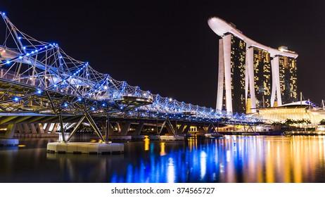 Marina Bay, Singapore - April 11, 2015 : Marina bay sands and helix bridge are highlight place of Singapore