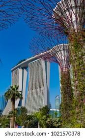 Marina Bay Singapore Asia February 9, 2018 Marina Bay Sands Hotel and Casino seen from Gardens by the Bay