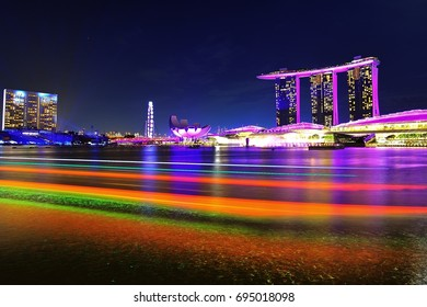 Marina Bay, Singapore. Colored traces from the boats.