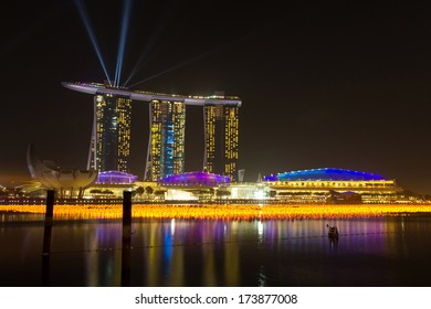 MARINA BAY, SINGAPORE - DEC 31, 2013: Marina Bay Sands, World's most expensive standalone casino property in Singapore at S$8 billion.