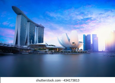 Marina bay Singapore at dusk, Singapore city skyline