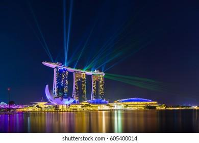 MARINA BAY SINGAPORE - FEBRUARY 10 2017: Landscape of the Marina Bay Sands laser show in Singapore.