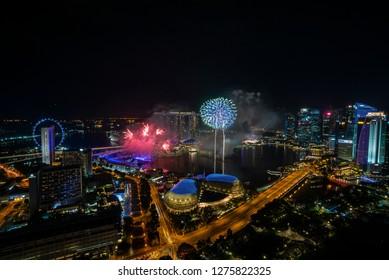 Marina Bay, Singapore - January 01, 2019: Fireworks show as a celebration of new year eve at Marina Bay Sands, Singapore.
