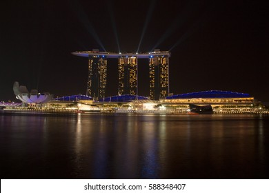 Marina Bay, Singapore - January 28, 2017 - The Marina Bay Sands is one of Singapore's popular places for sight seeing. It opened in 2010 and was billed the most expensive stand-alone casino.