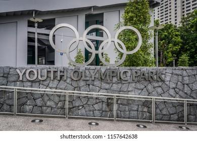 Marina Bay / Singapore - June 9, 2016: The Youth Olympic Park Signage in Singapore