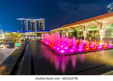 MARINA BAY, SINGAPORE - Mar 10, 2017: Marina Bay Sands featuring the event of iLight Marina Bay, Singapore. Images are projected in the Singapore Art museum to show celebration of life.