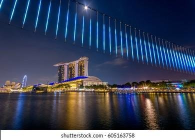 MARINA BAY, SINGAPORE - Mar 10, 2017: Light art piece setup in accordance to iLight Marina Bay- Asia's leading sustainable light art festival, held in the Marina Bay district of Singapore.