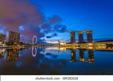 MARINA BAY, SINGAPORE: MAY 4,2016: Singapore city skyline before sunrise, Marina Bay, Singapore