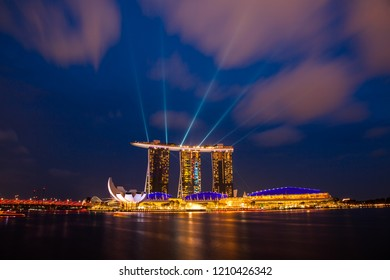 MARINA BAY, SINGAPORE - OCT 6, 2018: Marina Bay Sands Resort Hotel in Singapore. It is billed as the world's most expensive standalone casino property at $8 billion.