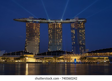 Marina Bay, Singapore - October 18, 2017: View of the Marina Bay Sands Hotel from the merion at the Marina Bay area, in Singapore.