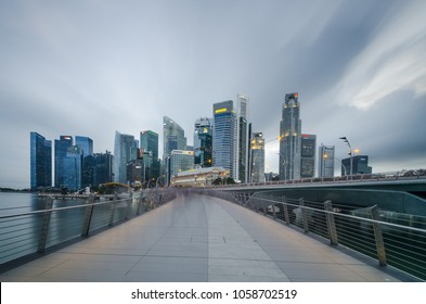 MARINA BAY, SINGAPORE - SEPTEMBER 17, 2016: Beautiful morning at Marina Bay with Singapore Central Business District at the background, one of the most beautiful city skyline in the world.